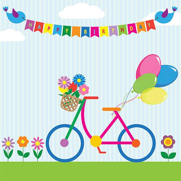 bunte fahrrad mit blumen und luftballons - lustige fahrrad stock-grafiken, -clipart, -cartoons und -symbole