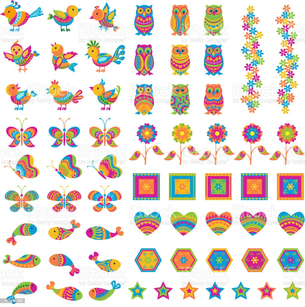 Colorful Bird and Butterfly royalty-free stock vector art