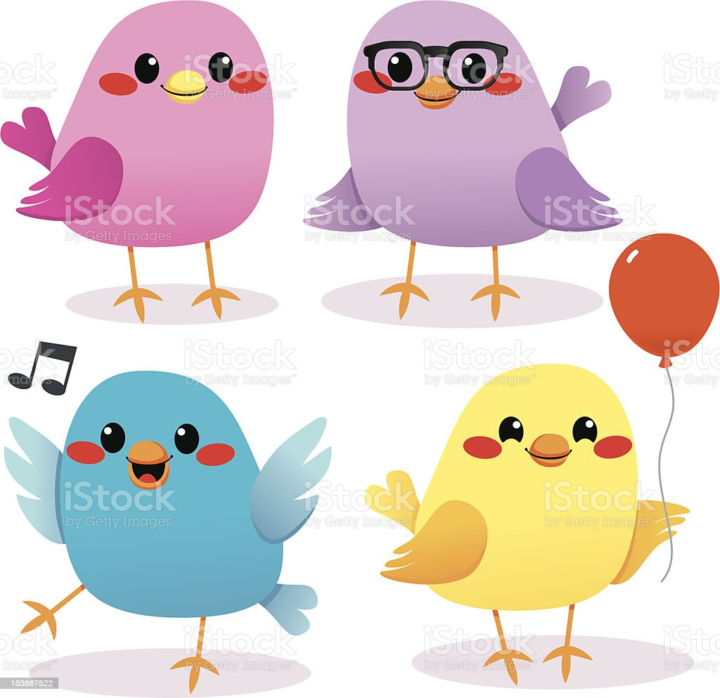 Colorful Bird Party vector art illustration