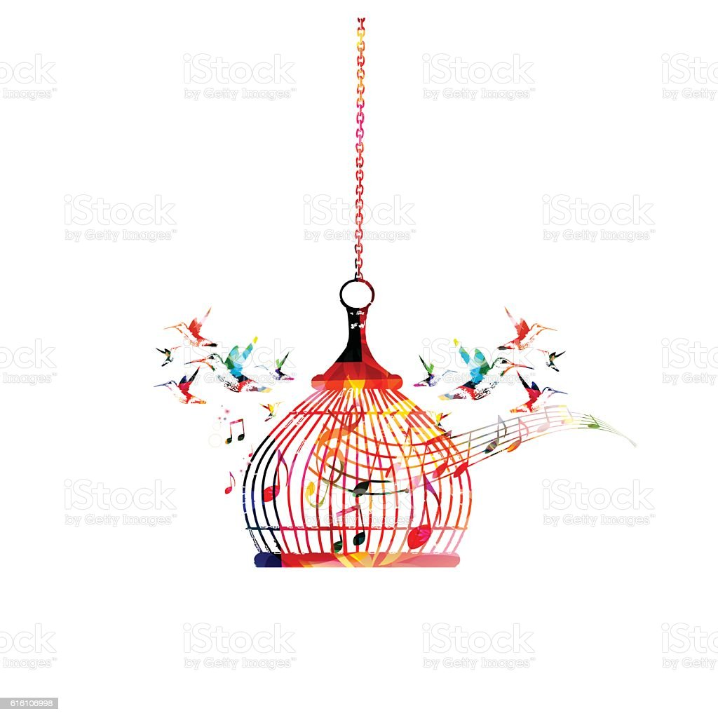 Colorful birdcage with music notes vector art illustration