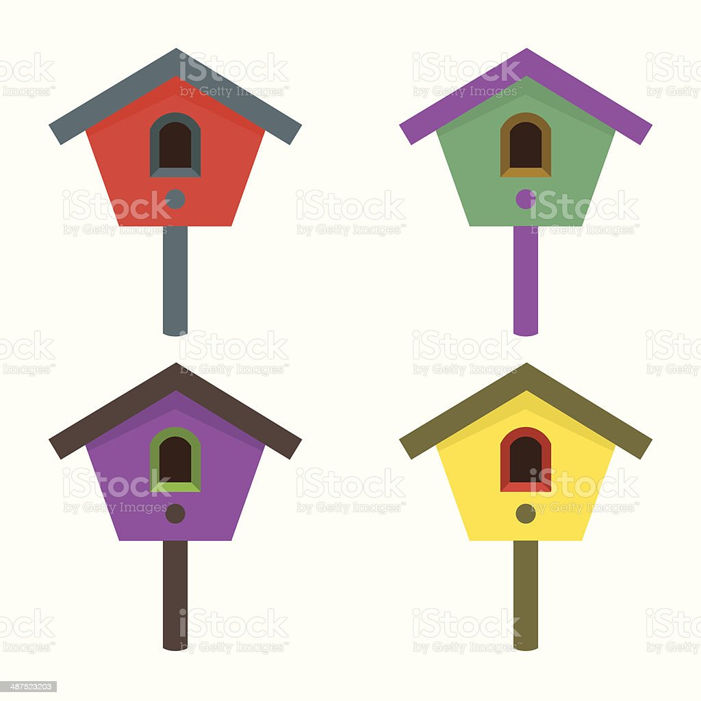 Colorful Birdhouses vector art illustration