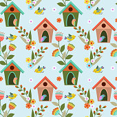 Colorful birds and birdhouses seamless pattern for fabric textile wallpaper.
