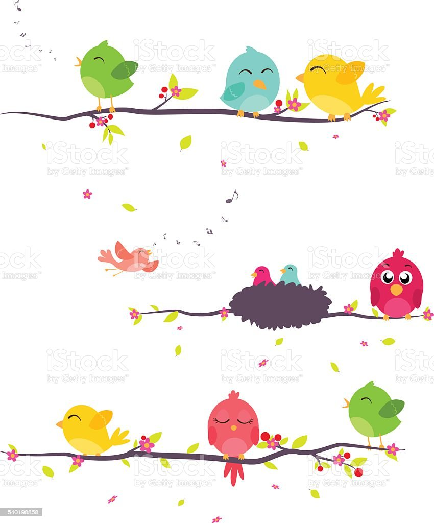 Colorful birds sitting on branches vector art illustration