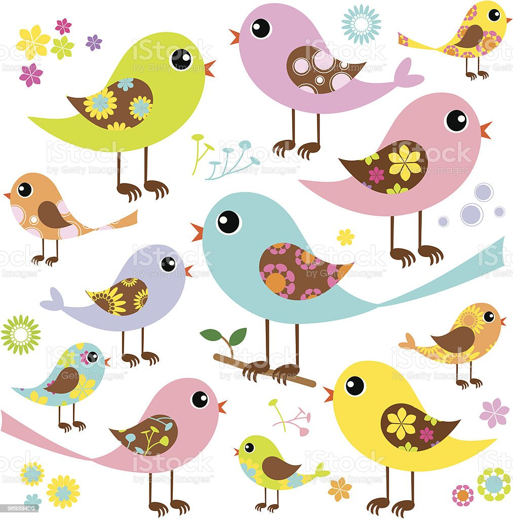 Colorful Birds with Pattern royalty-free colorful birds with pattern stock vector art & more images of 1970-1979