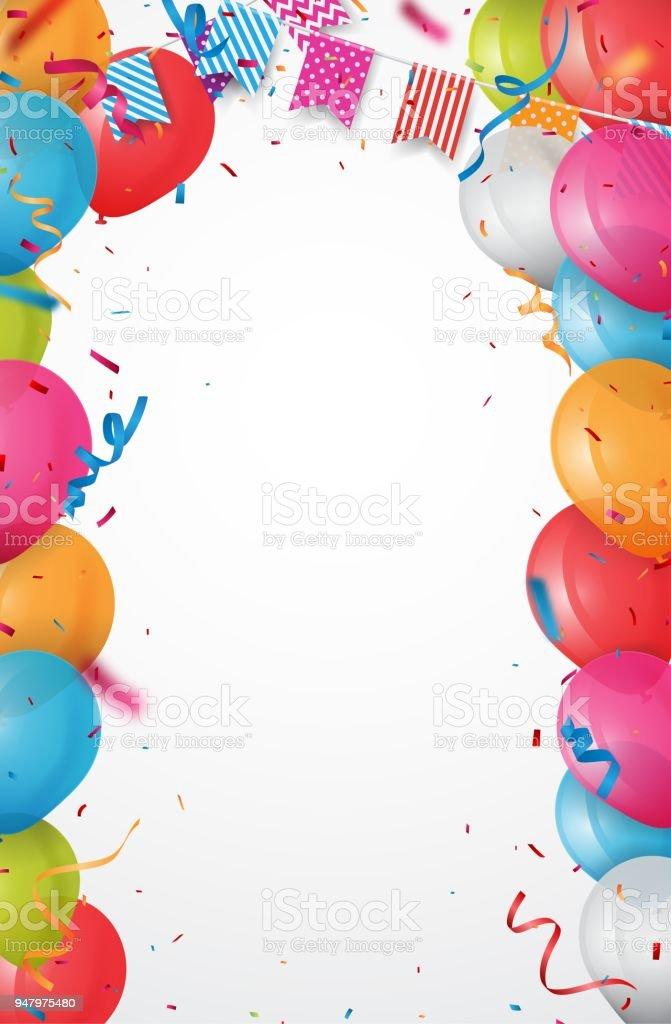 Bunte Geburtstag Ballon Mit Bunting Fahnen Und Konfetti Stock Vektor