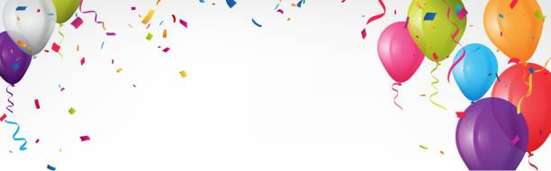 Colorful birthday banner with bunting flags and confetti vector art illustration