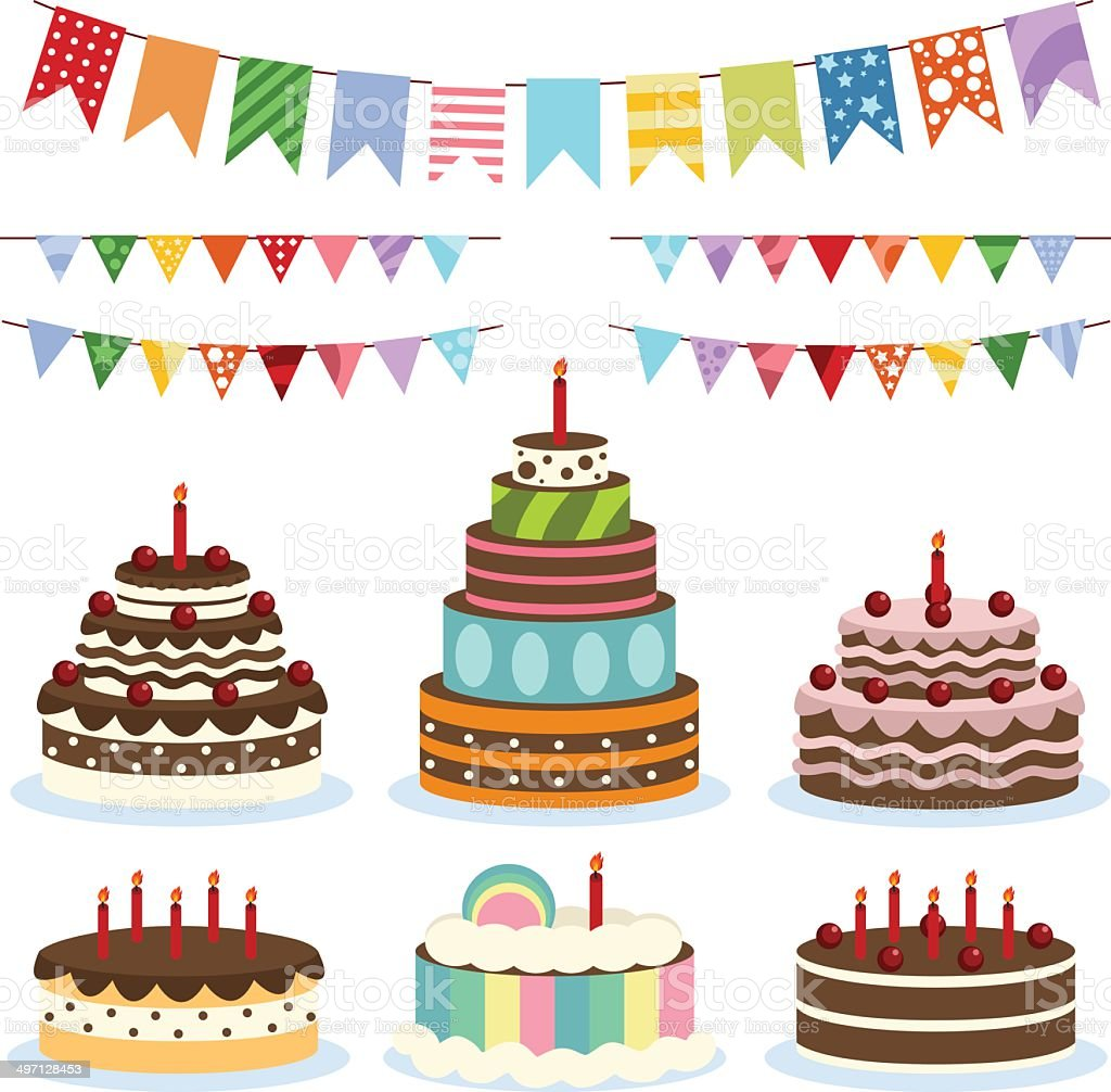 Colorful birthday banners and cakes vector art illustration