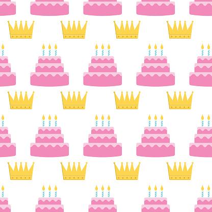 Colorful Birthday Cake Seamless Pattern