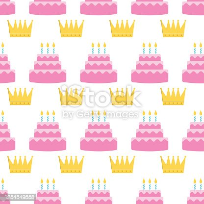 istock Colorful Birthday Cake Seamless Pattern 1254549558