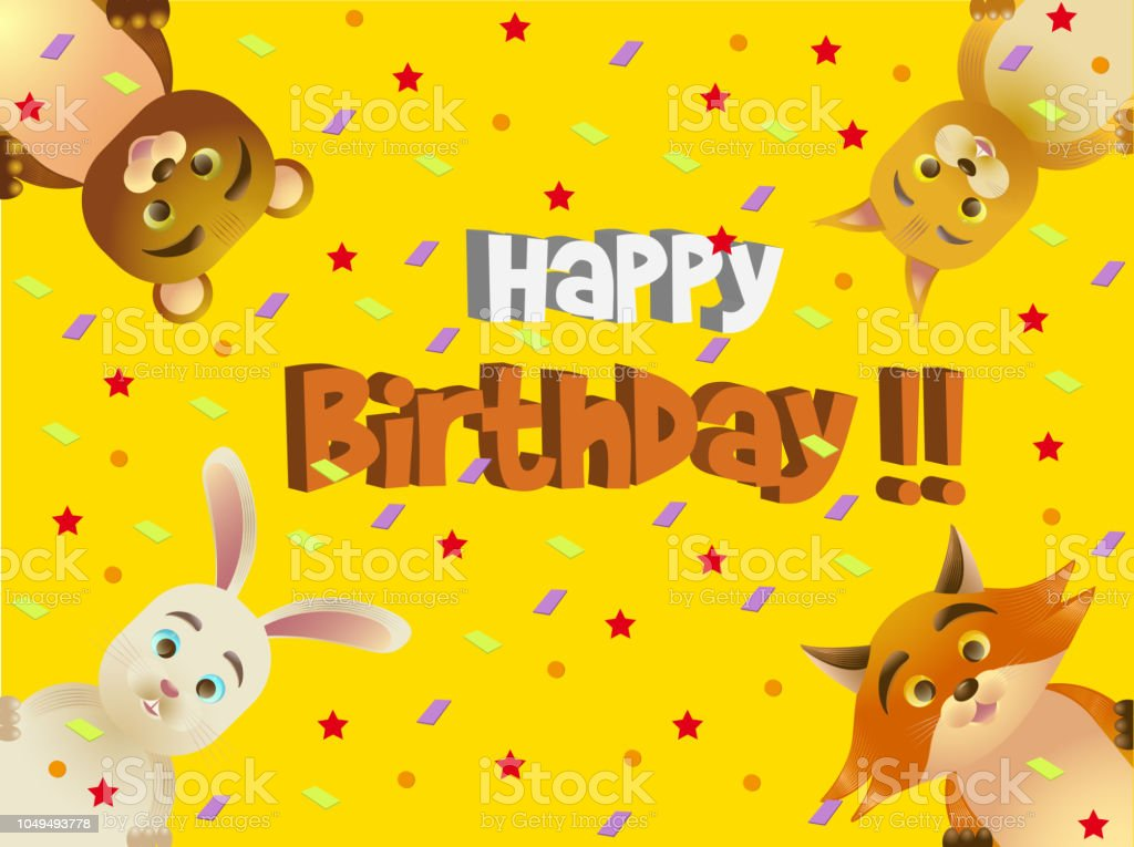 A Colorful Birthday Card For Children With Forest Animals Stock
