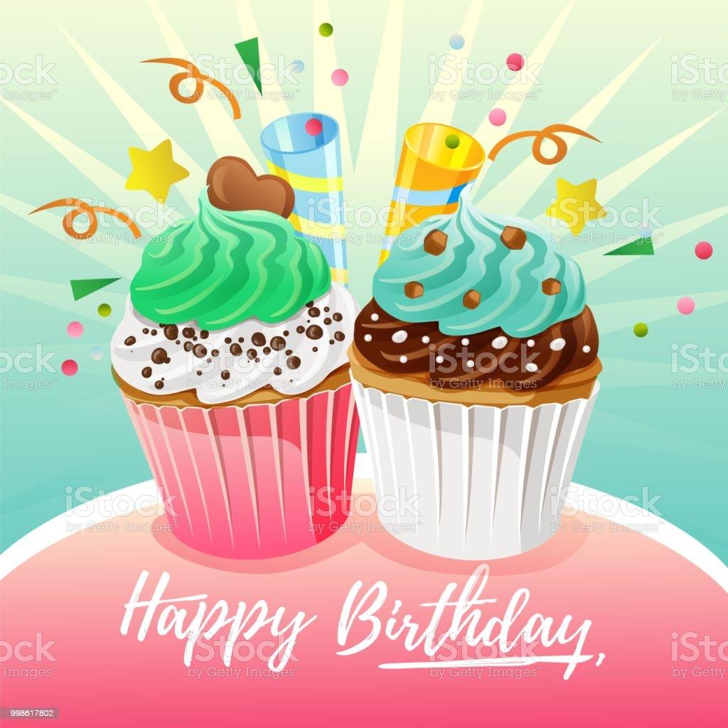 Colorful Birthday Card Theme With Fun Muffin Slice Cake
