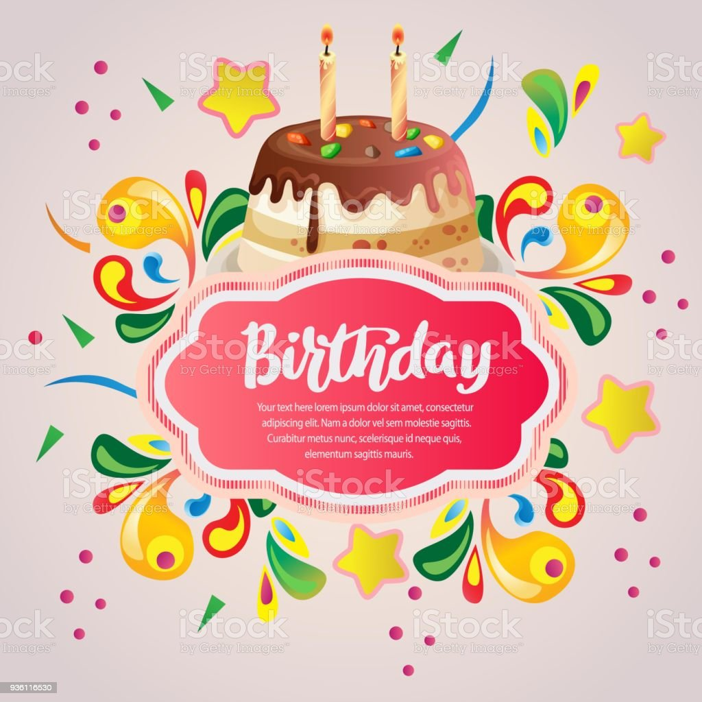 Colorful Birthday Card With Birthday Cake Stock Vector Art More