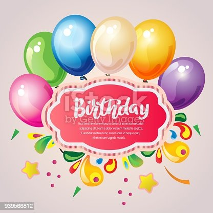 Colorful Birthday Card With Party Balloon Stock Vector Art More