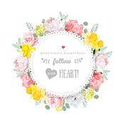 Colorful birthday floral vector design frame