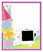 Colorful birthday page with gifts, party hats, confetti, photo frames and lots of space for your message.