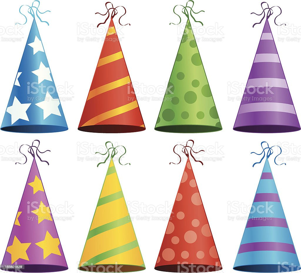 Colorful Birthday Party Hats Celebration Invitation Vector Illustration vector art illustration