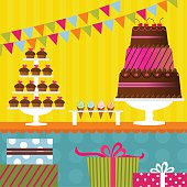 Colorful birthday party with cake, cupcakes, ice cream and gifts.