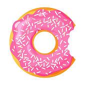Colorful bitten donut on white background, flat vector illustration