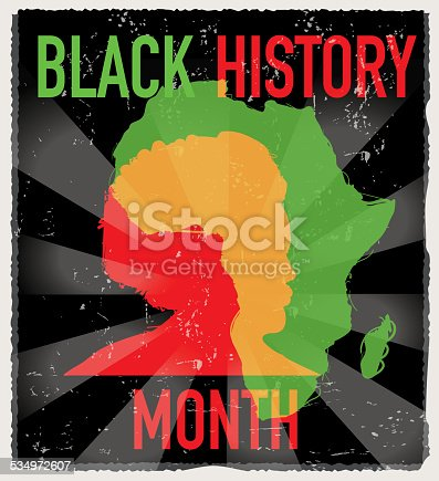 Vector Illustration with 10 EPS of side view of African American man.  African History Month, Underground Railway, African Culture. Male, person, people, portrait, head and shoulders and masculine, features, sideview and abstract, afro, face, expression. Black background, celebration.  Black heritage celebration. African Heritage Day. Black American ethnic group, person of color.