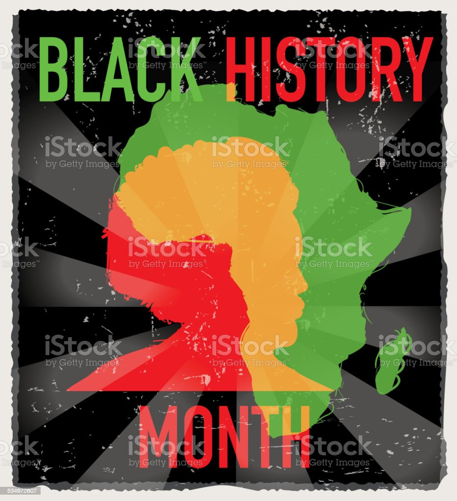 Colorful Black History month poster design with lot's of texture vector art illustration