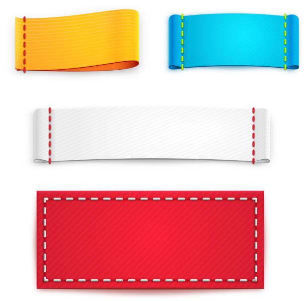 colorful blank fabric labels or badges - 衣服 幅插畫檔、美工圖案、卡通及圖標