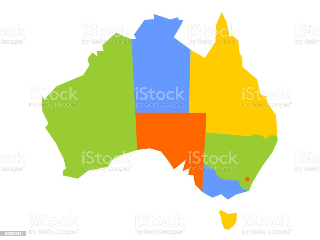 Download Map Of Australia.Colorful Blank Map Of Australia Vector Illustration Stock