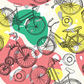 A retro 80s and 90s seamless bicycle pattern with a funky amorphous blob background.