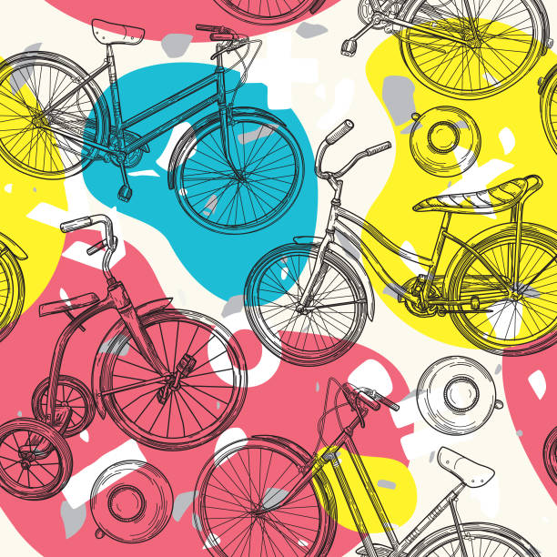 Colorful Blob and Bicycle Seamless Pattern vector art illustration