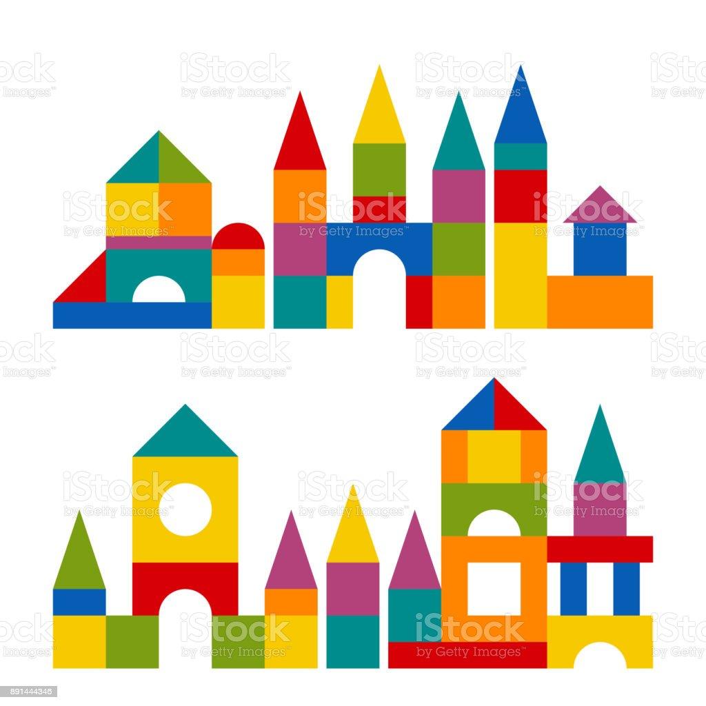 Juguete de coloridos bloques de construcción torre, castillo, casa - ilustración de arte vectorial