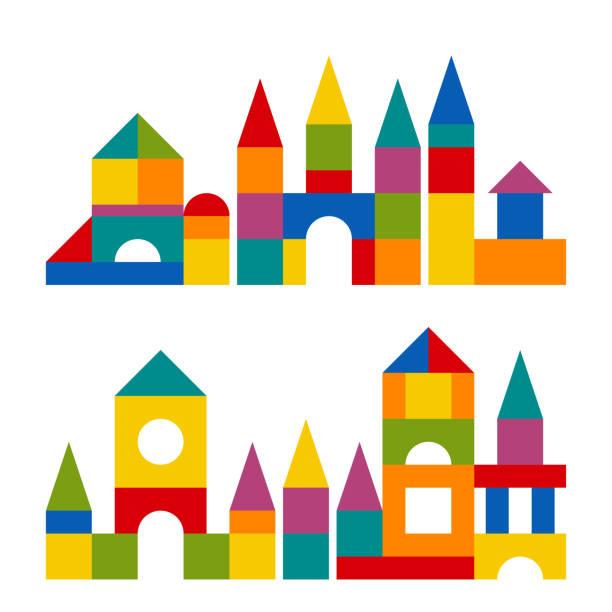 stockillustraties, clipart, cartoons en iconen met kleurrijke blokken toy gebouw toren kasteel, huis - blok vorm