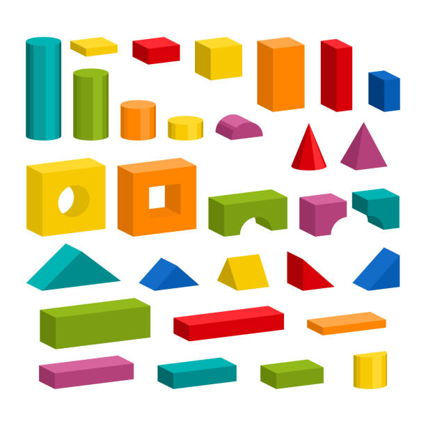 Colorful blocks toy details for tower building Bright colorful wooden blocks toy details. Bricks pieces for building childrens tower, castle, house. Vector volume style illustration isolated on white background. block shape stock illustrations