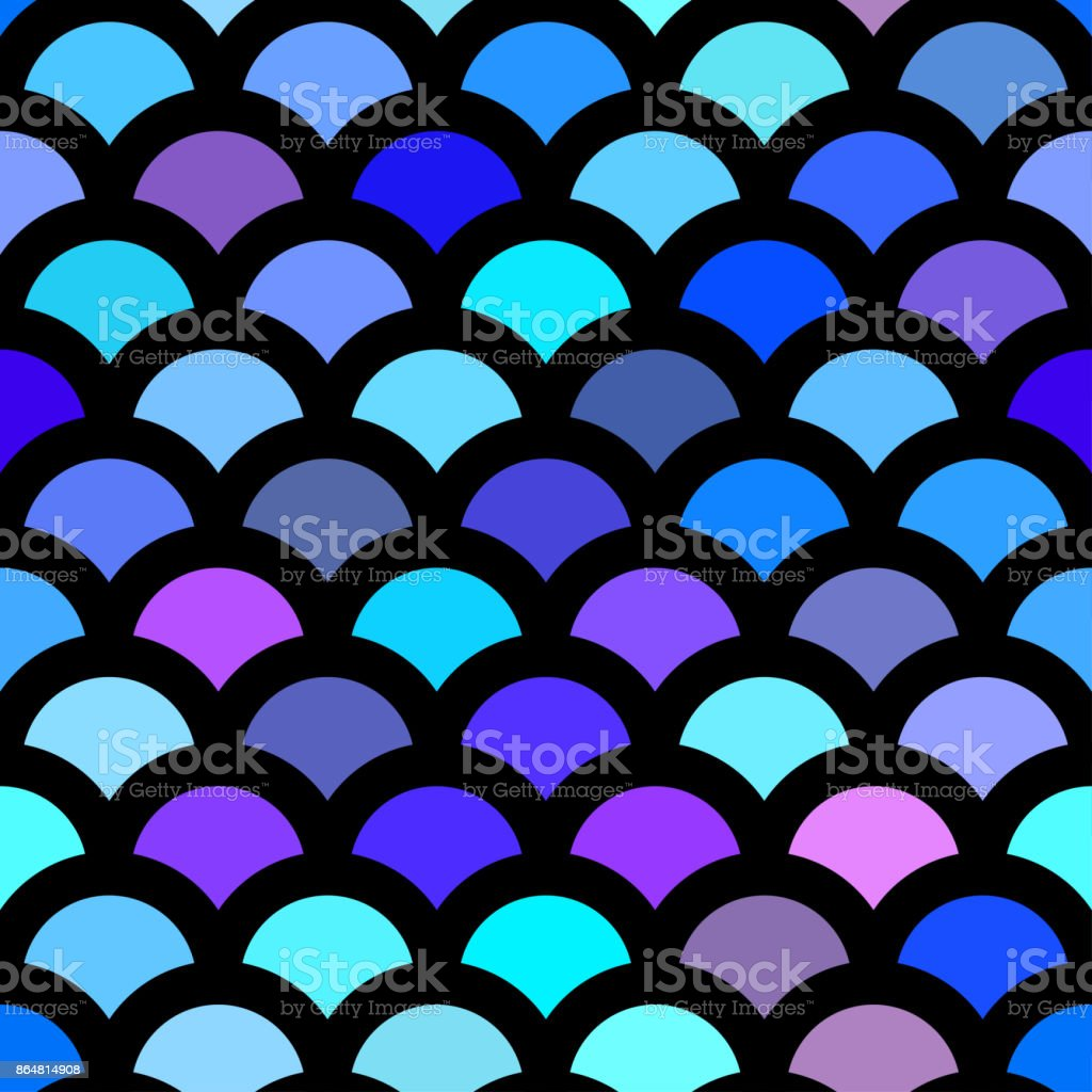 Colorful blue mermaid tail vector art illustration