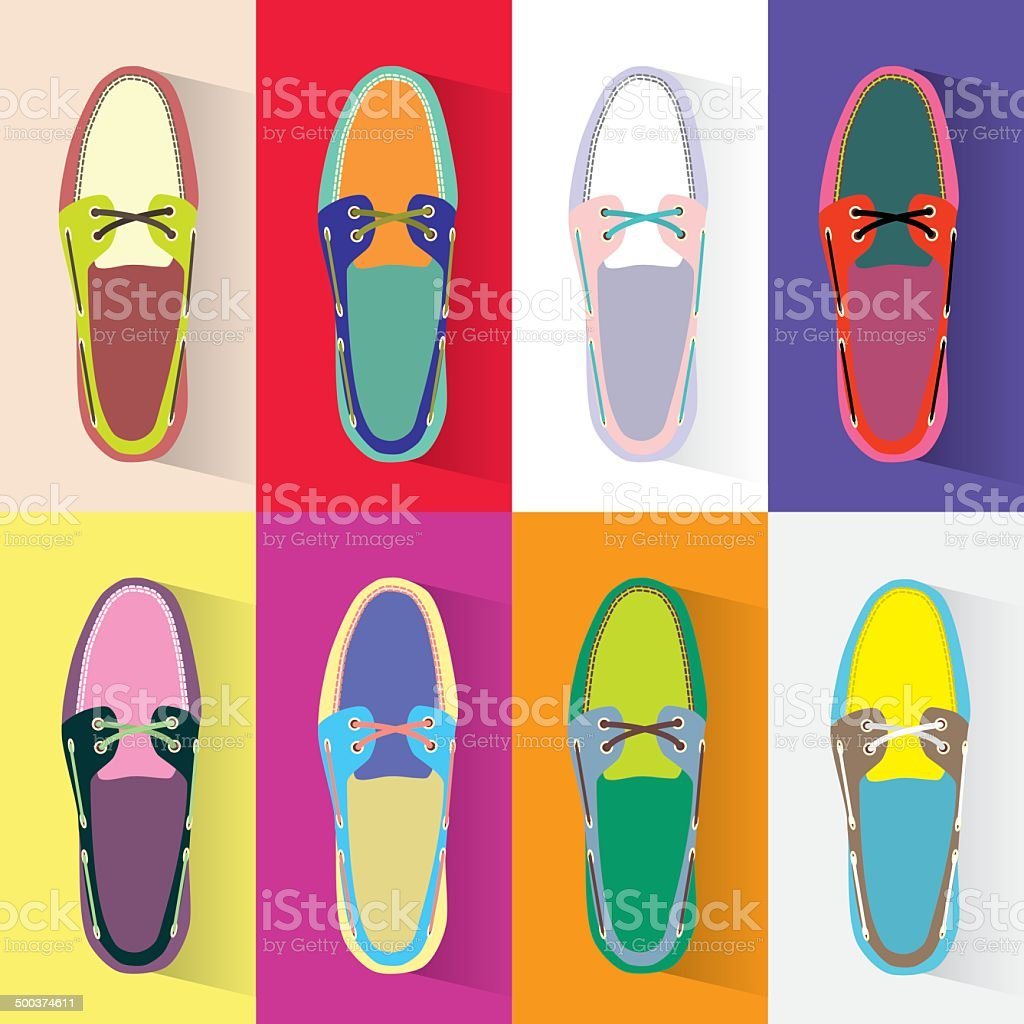 Colorful boat shoes vector art illustration
