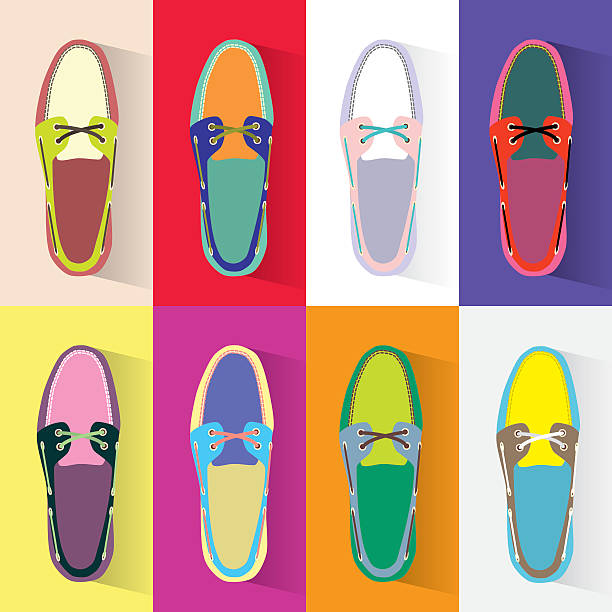 colorful boat shoes - preppy fashion stock illustrations, clip art, cartoons, & icons