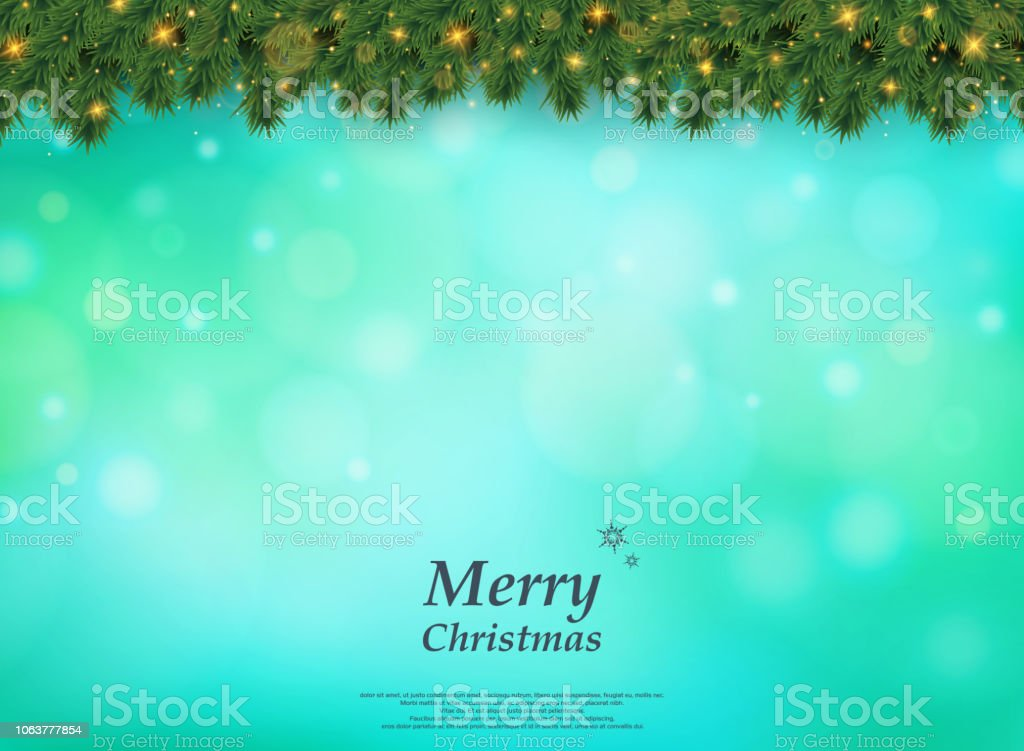 Colorful Bokeh Of Christmas Tree With Golden Glitters