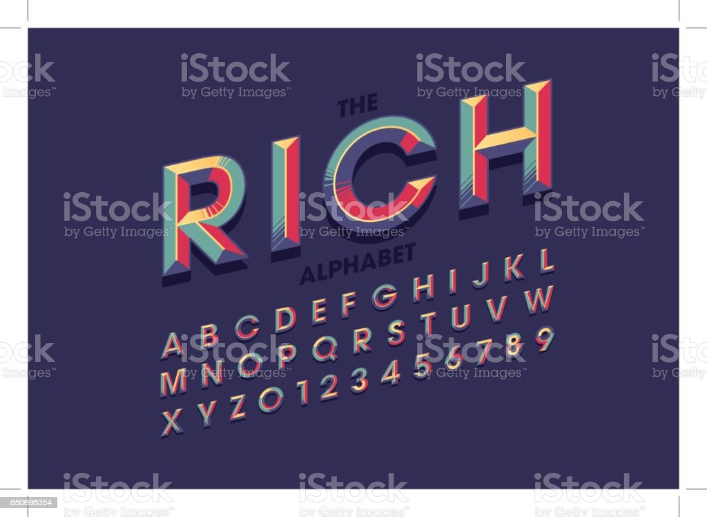 Colorful bold alphabet vector art illustration