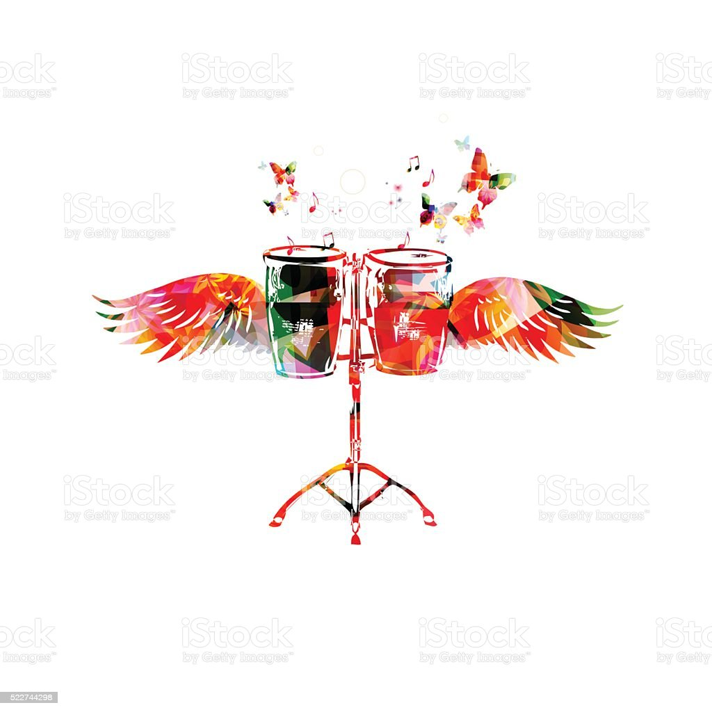 Colorful bongo drums with wings vector art illustration