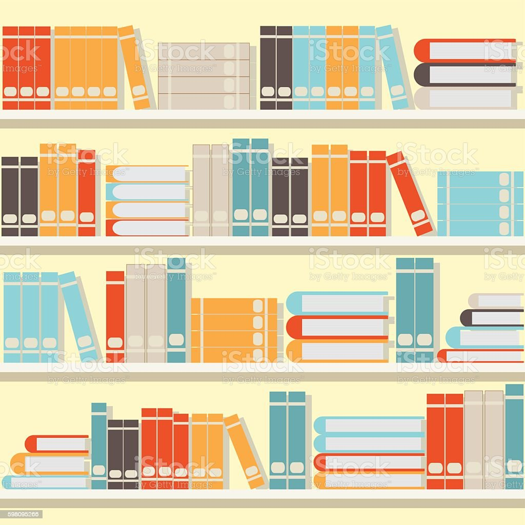 Colorful book on shelves,library or book store. vector art illustration