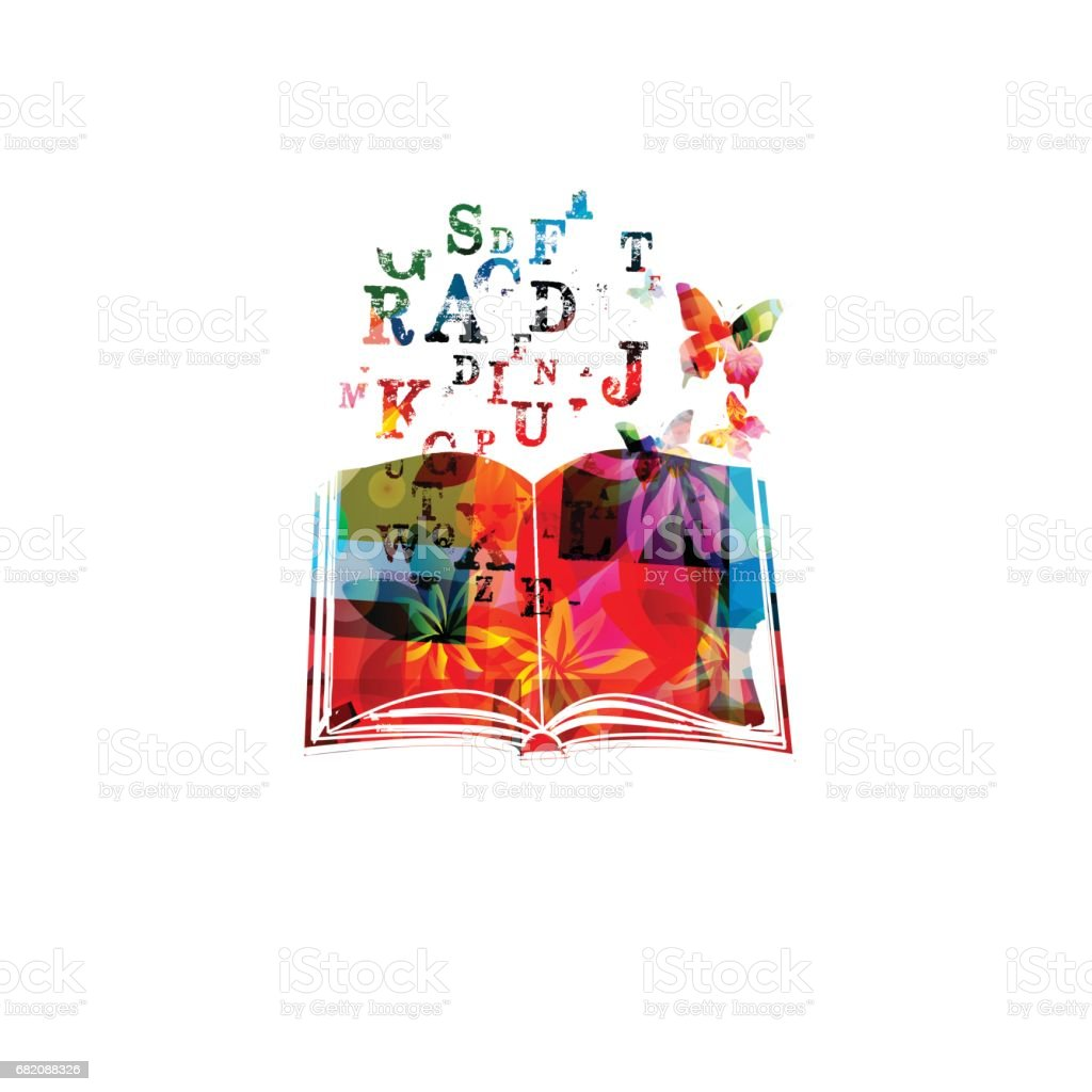 Colorful book with alphabet letters vector illustration vector art illustration