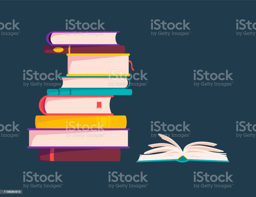 Colorful Books Are Stacked Vector Illustration One Open Book