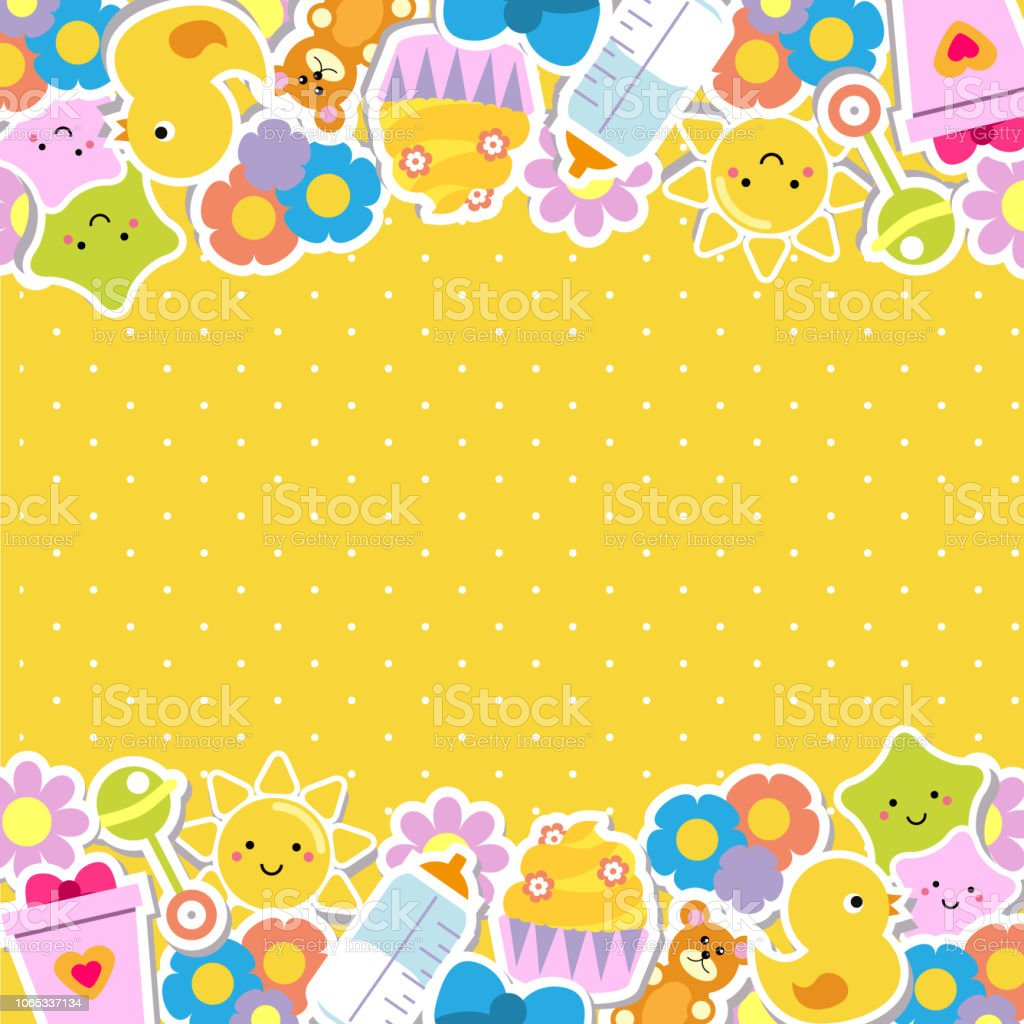 Colorful Border Frame Background With Children And Kids Toys ...