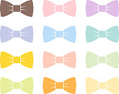 Colorful bow tie isolated bowtie accessory elegant knot celebration suit vector illustration