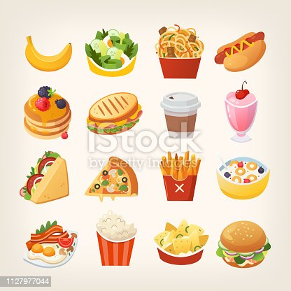 istock Colorful breakfast food icons. Meals and snacks for a quick lunch. 1127977044