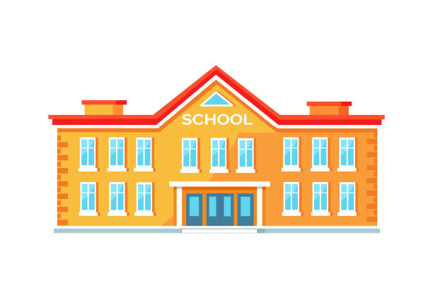 Colorful Brick School Building Vector Illustration Yellow school building with entrance in middle with wide amount of windows and red roof. Vector illustration isolated on white background schoolhouse stock illustrations