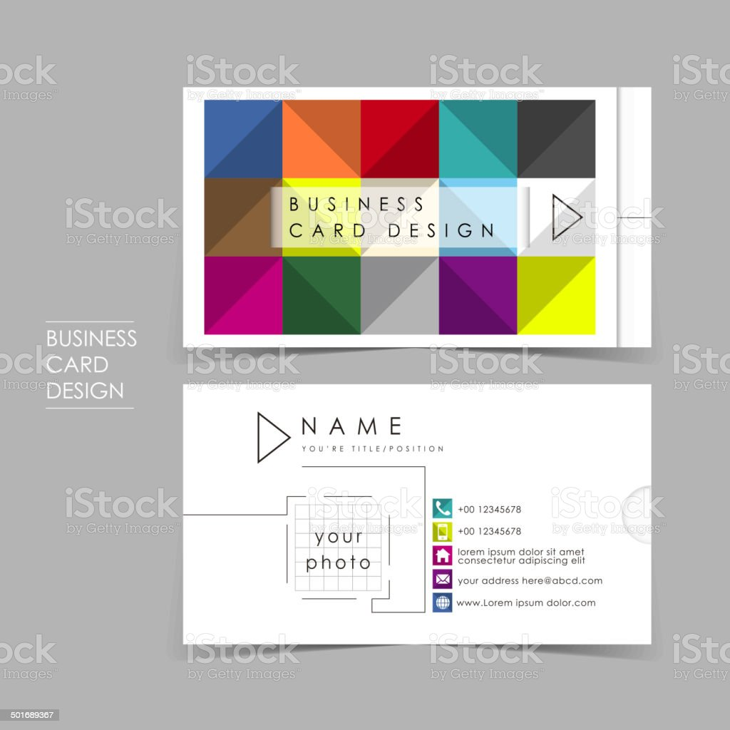 colorful brick vector business card set vector art illustration