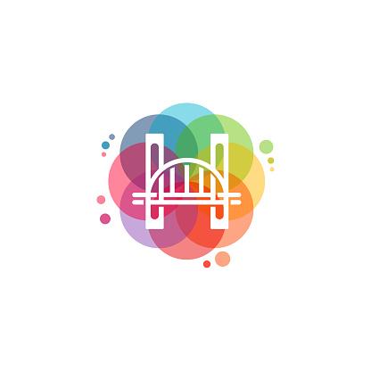Colorful Bridge logo vector, Bridge Building logo designs template, design concept, logo, logotype element for template