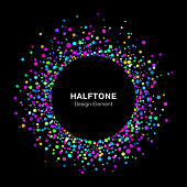 Colorful Bright Abstract Halftone Logo Design Element on Black Background