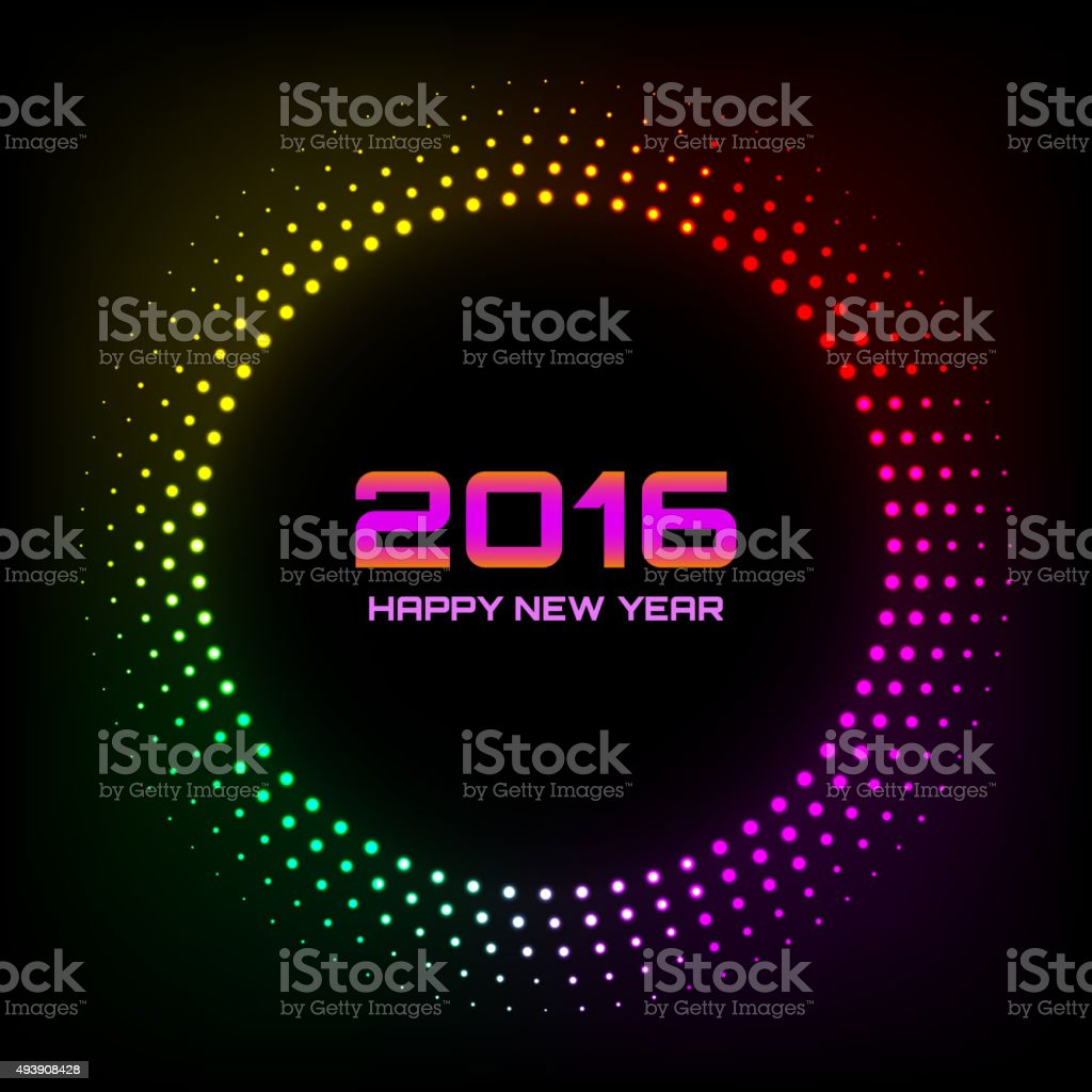 Colorful Bright Abstract Halftone New Year 2016 Background vector art illustration