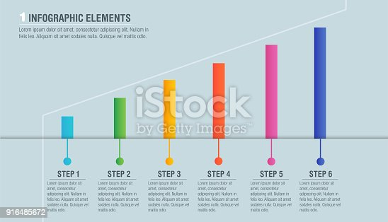 istock Colorful bright business infographics, diagram with 6 segments with text. Vector illustration business template 916485672