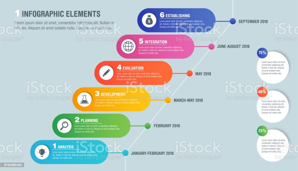 Colorful Bright Business Infographics Of Project Planning Diagram